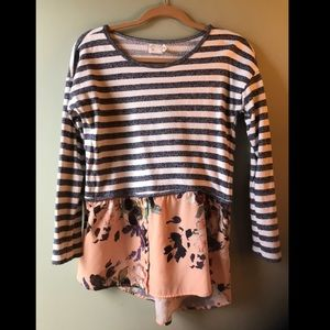 SALE! 9-H15 - Anthropologie- striped floral shirt